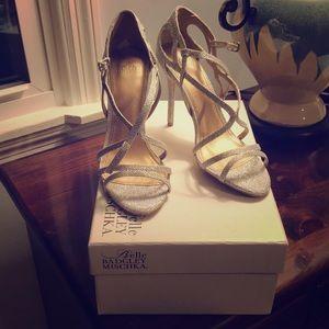 Belle by Badgley Mischka silver sparkle sandals